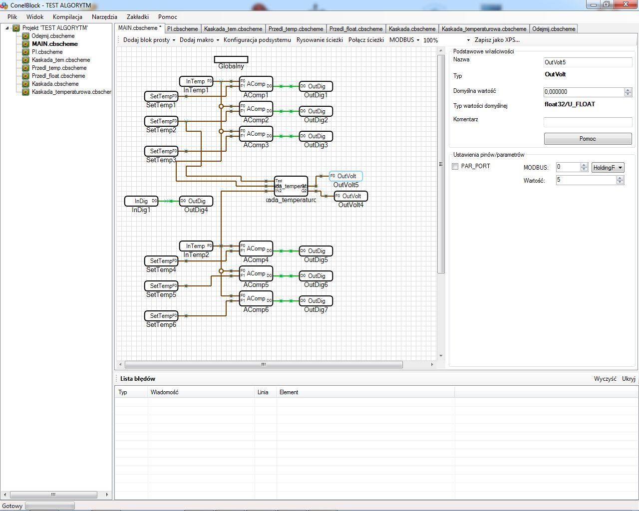 Program ConelBlock do sterowników swobodnie programowalnych, algorytm, schemat blokowy